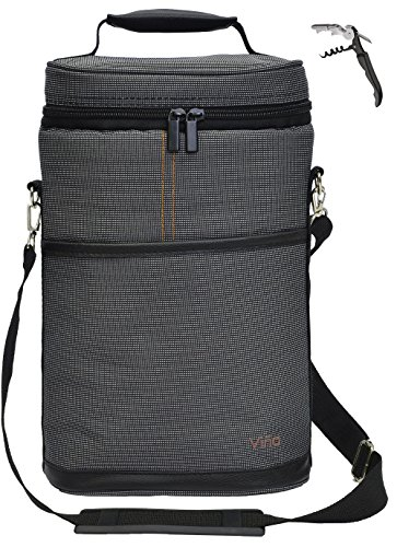 Vina 2 Bottle Wine Tote Bag, Insulated Wine or Beer Cooler Carrier Case with Shoulder Strap + Free Corkscrew, Wine Gift Bag for Travel and Picnic, Gray (Personalized Wine Cooler)