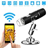 WiFi Microscope, WADEO Wireless Digital Microscope 50X to 1000X Handheld Zoom 8 LED Magnification Endoscope Camera Magnifier, Compatible with Android/iOS Smartphone, Tablet, Windows and Mac