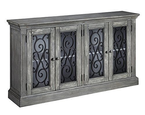 Ashley Furniture Signature Design - Mirimyn 4-Door Accent Cabinet - Casual - Antique - Screen Fireplace Cottage Glass