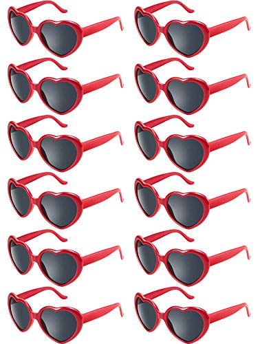 (Blulu 12 Pieces Neon Colors Heart Shape Sunglasses for Women Party Favors and Festival (Red))