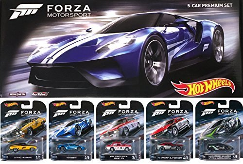 Hot Wheels 2016 FORZA Motorsport Retro Entertainment Series Box Premium Set - Lamborghini Gallardo / '17 Ford GT / Alfa Romeo Sprint GTA / Ford Falcon / Camaro ZL1 Real Riders (Gta 5 Model Cars)