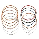 #9: Acoustic Guitar Strings,2 Sets of 6 Acoustic Guitar Kit (1 Copper color Set and 1 Multicolor Set) Guitar Strings Replacement Steel String for Guitarist/beginners/performers