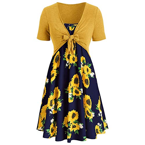 Missroo Plus Size Sunflower Print Dress with Front Knot Top