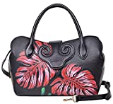 PIJUSHI Designer Floral Handbags For Women Leather Top Handle Crossbody Bags (22119 Black with Red Leaf)