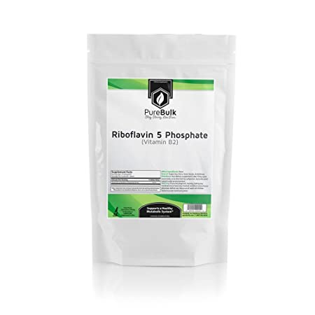 PureBulk Riboflavin 5 Phosphate Vitamin B2 Container Bag Size 100g Powder