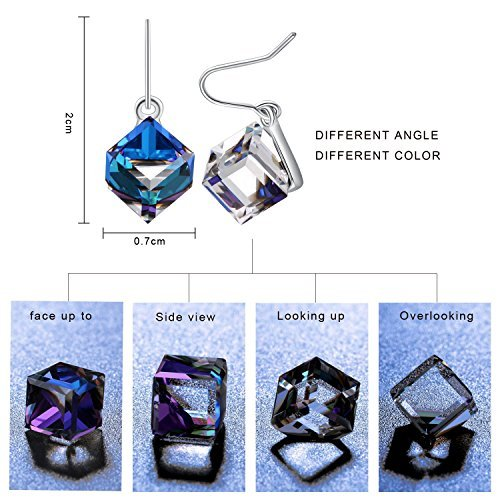 Swarovski Element Earrings Cube Earrings Color Changing Crystals Heart Of Ocean Blue Drop Dangle Earrings, Birthday Birthstone Jewelry Gifts for Women by PLATO H (Image #1)