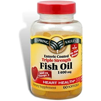 Spring Valley - Fish Oil 1400 mg, Triple Strength, Enteric Coated, 60 Softgels