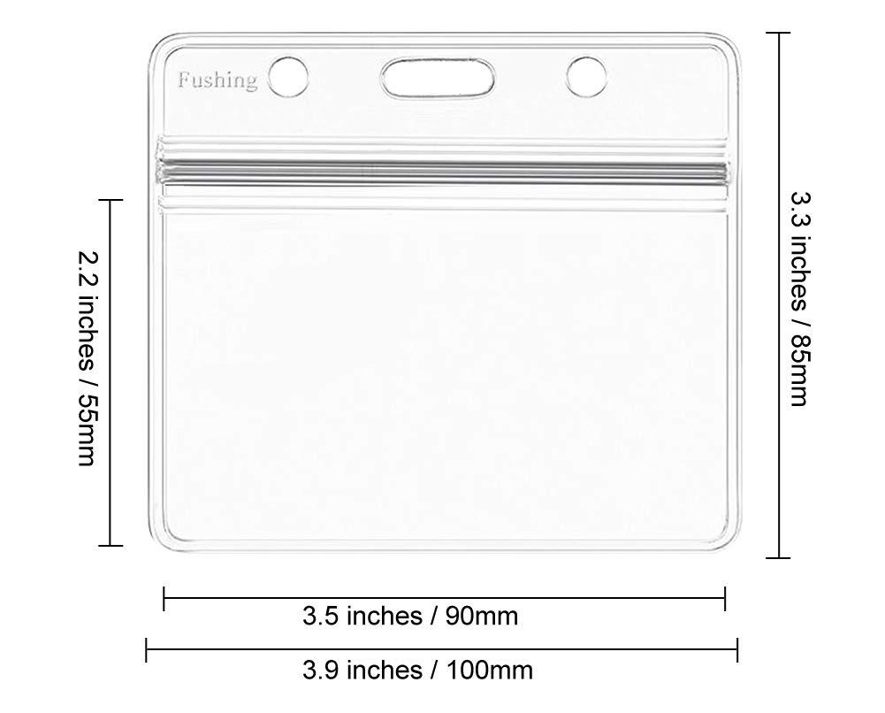 100 Pcs Clear Plastic Horizontal Name Tag Badge ID Card Holders by Fushing (Image #1)