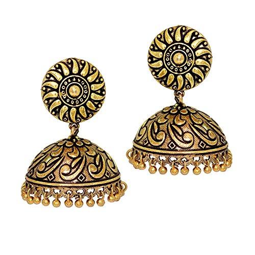 Jaipur Mart Handmade Party Wear Oxidised Gold Plated Handmade Jhumka Jhumki Earrings For Women (Gold, Queen,1 Pair)