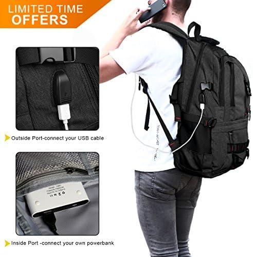 Preto Novo com USB Mochila 17 pulgadas Casuais Daypack para Hombre Mujer Estudiantes 35L Tocode Laptop Mochila Resistente al agua Antirrobo de colegio viaje Negocio Backpack