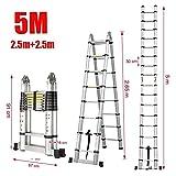 5.0m New Multi-Purpose Aluminium Telescopic Ladder Extension Extendable Steps +