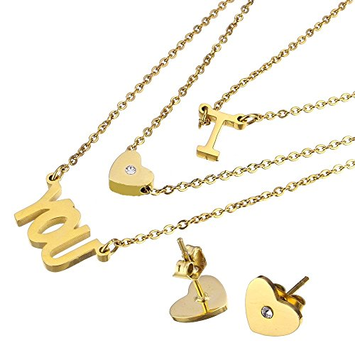Fashion Stainless Steel Gold Tone Triple Strand 'I LOVE YOU' w/ Crystal Necklace & Heart Stud Earring Set 439701 69