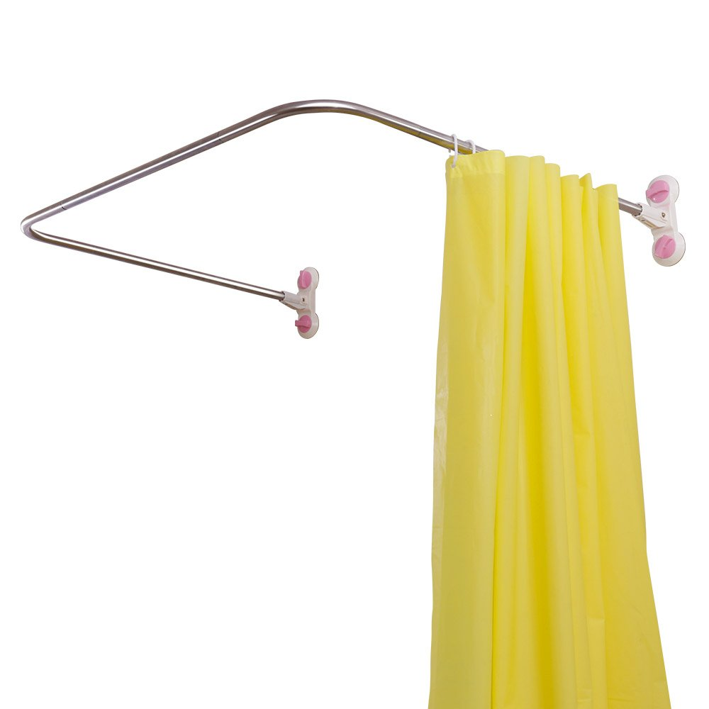 Baoyouni Bathroom U Shaped Corner Shower Curtain Rod Pole, Decorative Curved Bath Curtain Rail Bar with Suction Cup 38.5'' x 40''