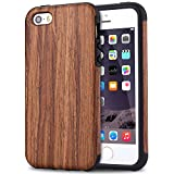TENDLIN iPhone SE Case, [Good Protection] Natural Wood Back Flexible TPU Silicone Hybrid Arc Bumper Shockproof Case [Drop Proof] for iPhone SE and iPhone 5S/5 (Red Sandalwood)