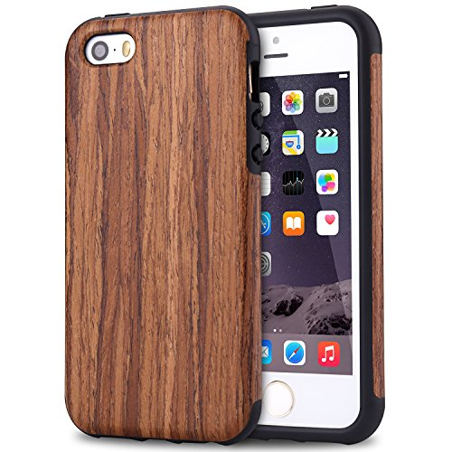 TENDLIN iPhone SE Case [Good Protection] Natural Wood Veneer Flexible TPU Silicone Hybrid Shockproof Case for iPhone SE and iPhone 5S / 5 (Red Sandalwood)