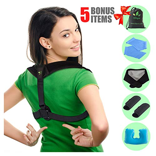 Posture Corrector for Women and Men - Upper Back and Neck Support for Natural Pain Relief - 6 Gifts Self Heating Neck Wrap | Travel Pillow | Resistance Band | Extra Pads | Travel Bag by Clips (Black)