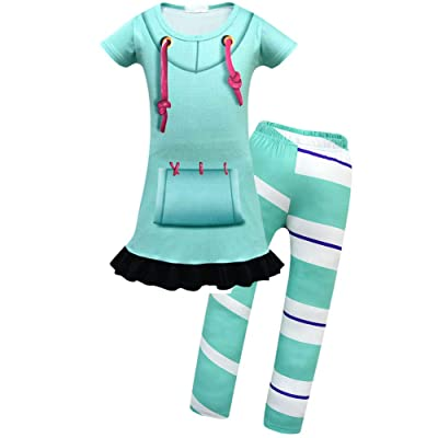 Cercur Kids Girls' Vanellope Von Schweetz Short Sleeve Drawstring Tunic Top and Leggings Cosplay Costumes: Clothing
