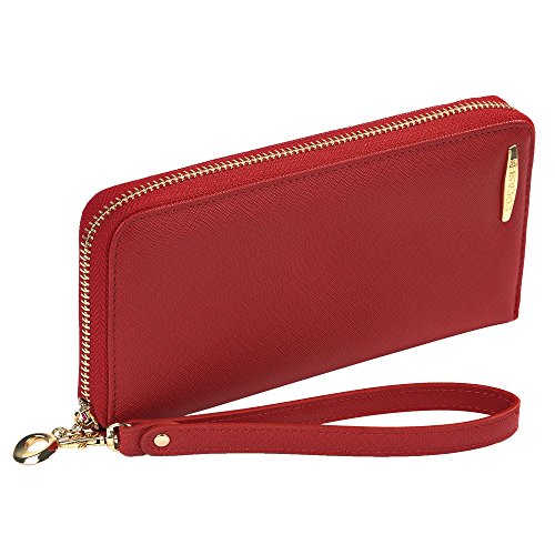 Credit Card Wallet, COCASES RFID Protection Women Premium PU Leather Zip Purse Cash Cards Organizer Coin Pocket Wrist Rope (Red)