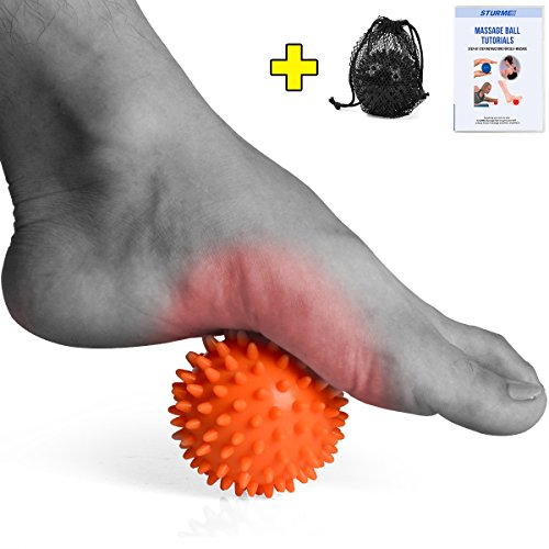 STURME Massage Ball Spiky for Deep Tissue Foot, Back, Plantar Fasciitis & All Over Body Deep Tissue Muscle Therapy - Includes FREE Ebook Roller Instructions BLACK (ORANGE)
