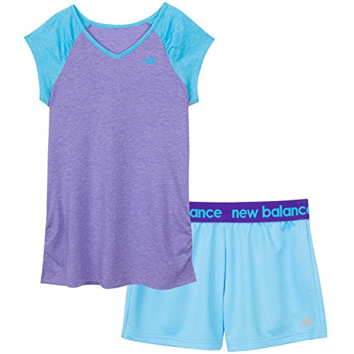 New Balance Little Girls' Performance Tee and Short Sets, Flutter/Titan, 4