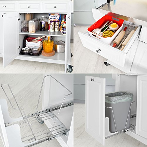 SoBuy?? White Luxury Kitchen Island Storage Trolley Cart, Kitchen Cabinet with Stainless Steel Worktop, FKW33-W by SoBuy by SoBuy (Image #6)
