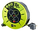 Masterplug Pro XT 10 m 4 Gang Medium Cassette Cable Reel with Switch and LED