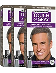 Just For Men Touch Of Gray Comb-In Men's Hair Color, Medium Brown (Pack of 3)