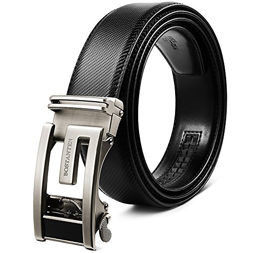 Designer Buckle (BOSTANTEN Leather Ratchet Dress Belts for men with Automatic Sliding Click Buckle in Gift Box, Trim to Fit)