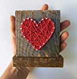 Sweet & small freestanding wooden red string art heart sign. Perfect for home accents, Wedding favors, Anniversary gifts, Valentines Day, Christmas, nursery decoration and just because gifts.
