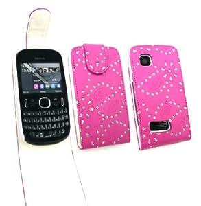 Emartbuy Nokia Asha 200/201 Diamante Premium Cerise Case Pink Flip / Portada / Funda