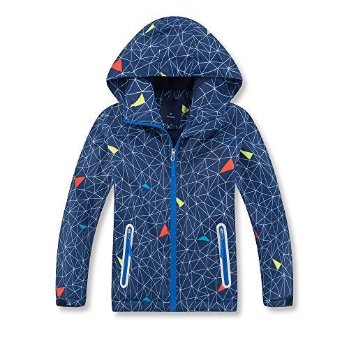 (Jingle Bongala Boys' Girls' Waterproof Thick Fleece Jackets Winter Coat Hooded -Navy-140)