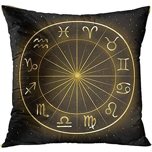 Housses de Coussin Résumé du Cercle du Zodiaque sur Cosmic avec étoiles Astrologie Horoscope Signes Verseau Bélier 45X45cm Taie d'oreiller décoratif Taie d'oreiller Home Decor Square Taie d'oreiller