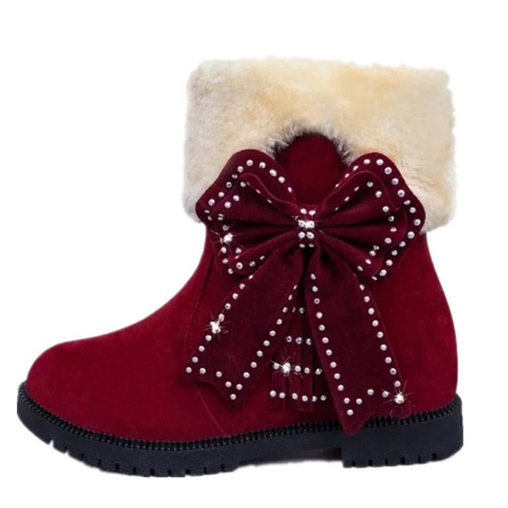 YSFU Stiefel Frauen Schneeschuhe Warme Weiche Bowknot Decor Rutschfeste Stiefel Damen Stiefelies Stiefelie Casual Herbst Winter Outdoor Flache Schuhe