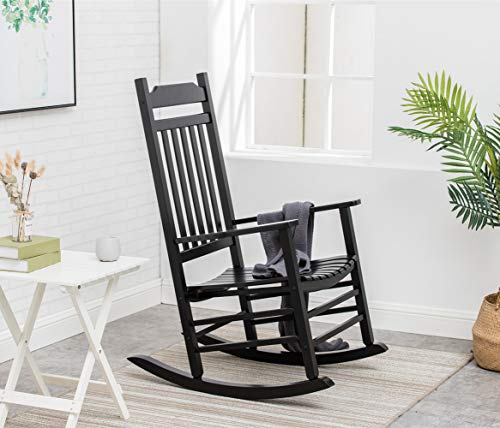 B&Z KD-30B Wooden Rocking Chair Porch Rocker Outdoor Classic Indoor (Black)