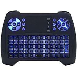 KOBWA Mini 2.4GHz Bluetooth Keyboard Wireless Touchpad Keyboard LED Backlit Gaming Keyboard, Rechargable Li-ion Battery with Mouse for PC/Mac/Android