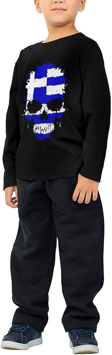 CERTONGCXTS Baby Girls Little Boys Greece Flag Skull ComfortSoft Long Sleeve Shirt