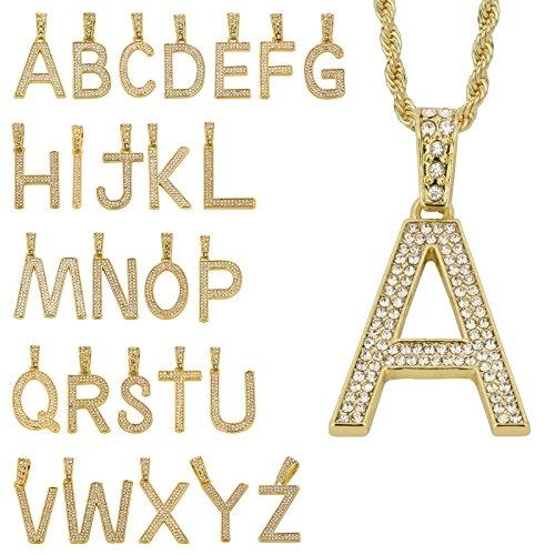 L & L Nation Hip Hop Unisex Small Pave Initial Alphabet Letter Pendant 24