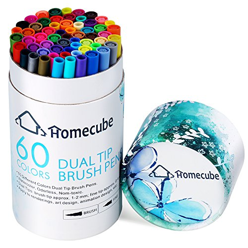 60 Colors Brush Markers Dual Tip Art Pens, Homecube Fine Liner Art Markers for Adult Coloring Books, Drawing, Painting, Writing Calligraphy by Homecube