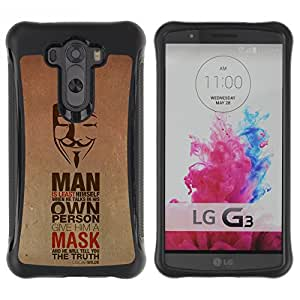 ZAKO Cases / LG G3 / Anonymous Man & Mask / Robusto Prueba de choques Caso Billetera cubierta Shell Armor Funda Case Cover Slim Armor