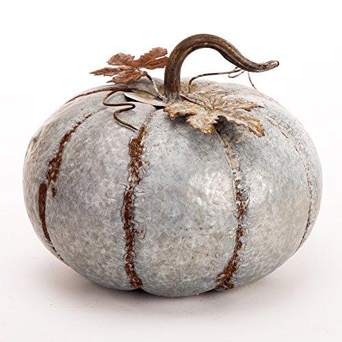 Glitzhome Medium Rustic Iron Galvanized Pumpkin for Fall and Harvest Season Decor 9.5'H