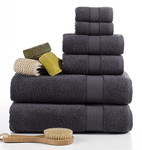 ixirhome Turkish Towel Set 6 Piece,100% Cotton, 2 Bath Towels, 2 Hand Towels and 2 Washcloths, Machine Washable, Hotel Quality, Super Soft and Highly Absorbent by (Dark Grey) (Towels Turkish Cotton)