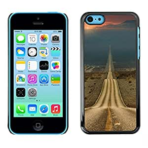Colorful Printed Hard Protective Back Case Cover Shell Skin for Apple iPhone 5C ( Open Road Freedom Asphalt Drive )