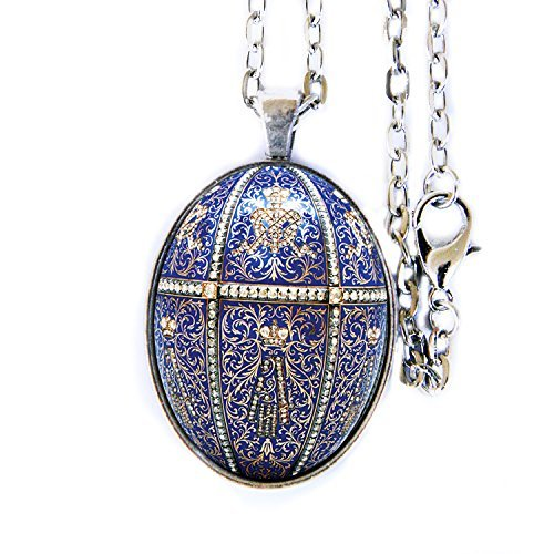 Used, Fabergé Egg glass domed cabochon photo pendant necklace for sale  Delivered anywhere in USA