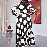 VERWIN Plus Size Floor-Length Print Half Lantern Sleeve Floral Womens Maxi Dress Expansion Dress