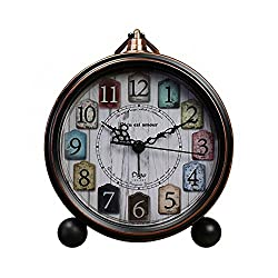 5.5 Retro Alarm Clock, Vintage Room Clock Home Déco Clock Desk Table Lamp Clocks with Ultra Mute Non Ticking Sweep Second Hand HD Glass Lens Battery Operated (50H15)