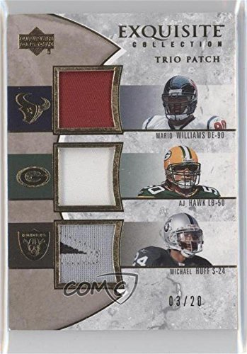 Mario Williams; A.J. Hawk; Michael Huff #3/20 (Football Card) 2006 Upper Deck Exquisite Collection - Trio Patch #ETP-WHH