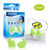 Hearprotek Swimming Ear Plugs, 2 Pairs Waterproof Reusable Silicone Ear Plugs for Swimmers Showering Bathing Surfing and Other Water Sports Kids Size (Green)