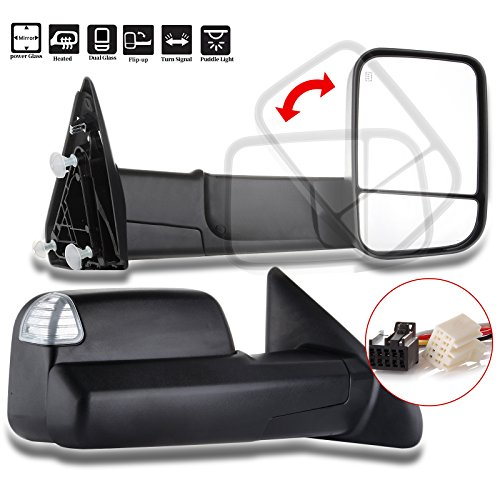 (ECCPP Towing Mirrors Replacement fit for 11-16 Ram Truck 2009-2010 Dodge Ram Truck Power Heated LED Turn Signal with Puddle Light Pair Set Mirrors)