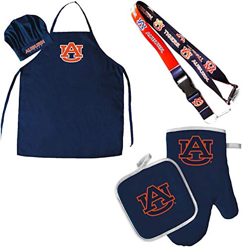 (Pro Specialties Group Auburn Tigers Chef hat Apron and Oven mitt Pot Holder BBQ Tailgate Set Lanyard … )