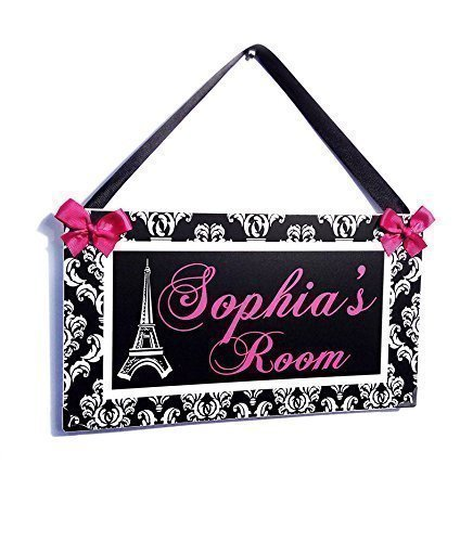 Personalized Eiffel Tower Paris Themed teens Room Name Door Plaque, Elegant Black and White Damask with Hot Pink Text and Top - Hot Name Pink Metal
